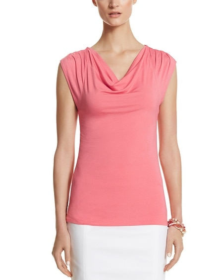 Cap Sleeve Drape Neck Top