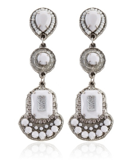 White Fabric Drop Earring