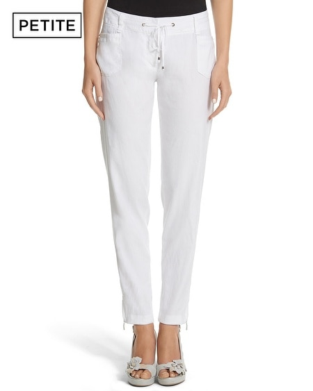 Petite Drawstring Linen Tapered Crop Pant