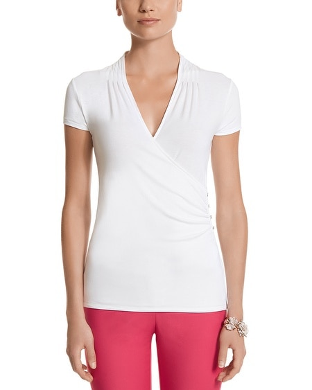Cap Sleeve Surplice Button Top