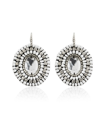 White Crystal Fabric Drop Earring