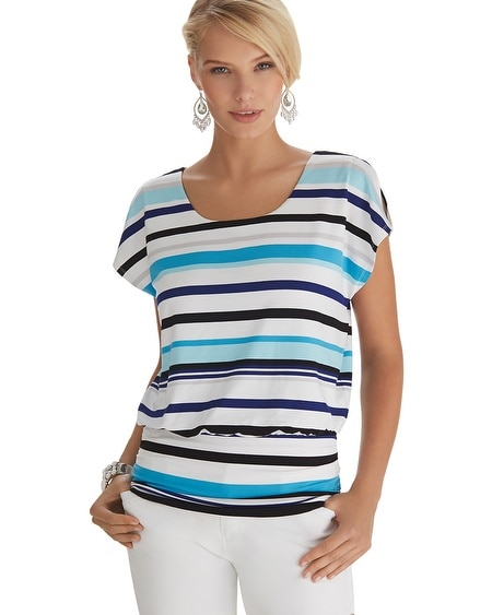 Striped Blouson Top