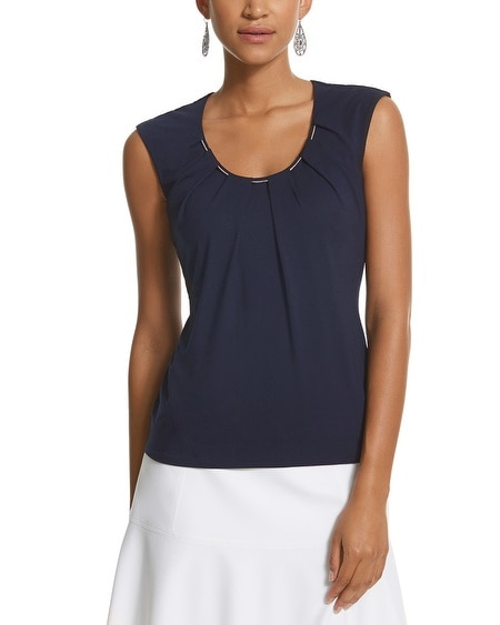 Embellished Pleat Neck Top