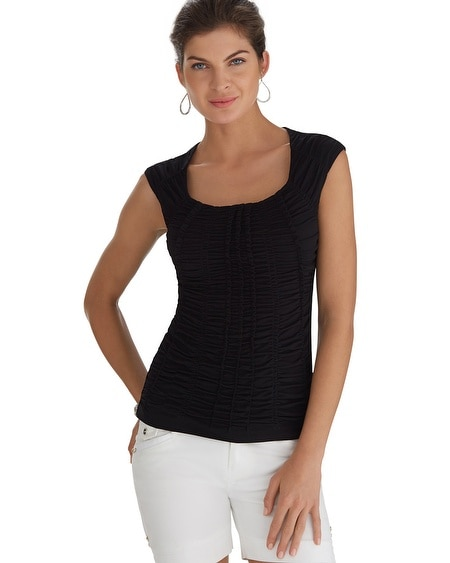 Extended Sleeve Ruched Black Tee