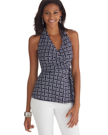 Basket Weave Printed Halter Top
