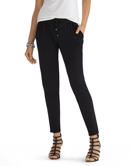 Drapey Tapered Knit Black Pants