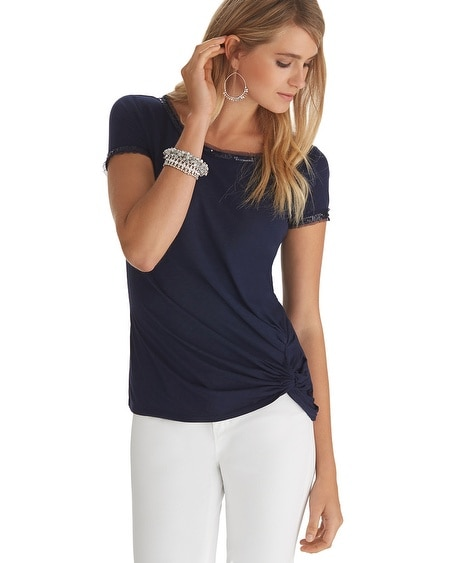 Short Sleeve Slub Foil Tee Navy