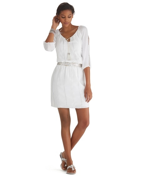 White Bohemian Blouson Dress