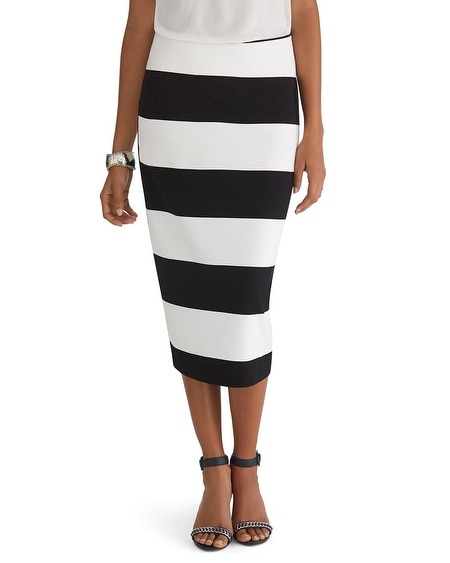 Stripe Knit Midi Pencil Skirt