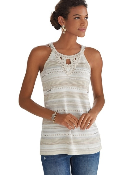 Sleeveless Embellished Halter Pullover