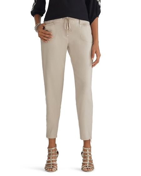 Linen Tapered Crop Pants