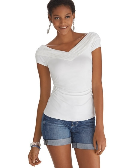 Pleated At-the-Shoulder Short Sleeve Top White