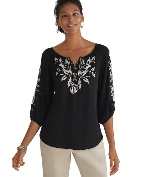 Chain Lace Front Embroidered Blouse