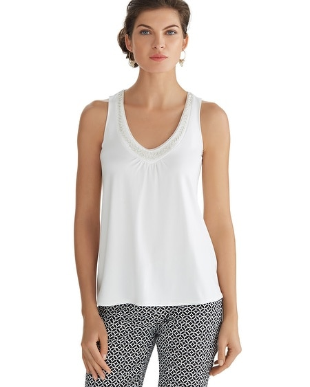 Bead Embellished White Tank