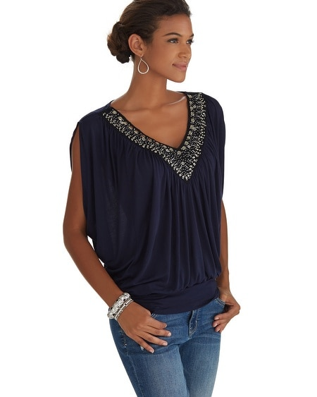 Embellished Neck Blouson Top