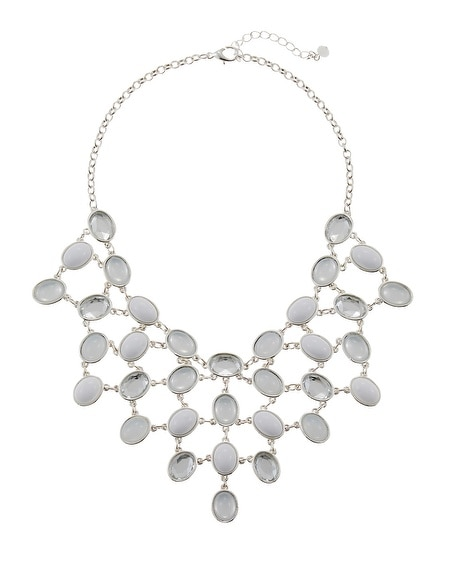 White Cabochon Bib Necklace