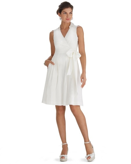 Sleeveless Fit & Flare Shirt White Dress