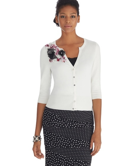 Flower Applique Notch Neck Cardigan