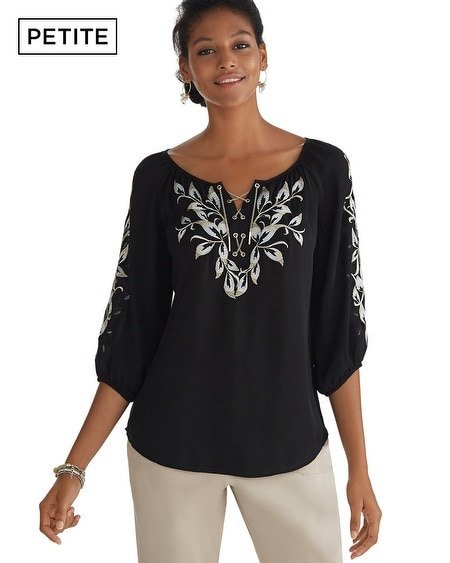 Petite Chain Lace Front Embroidered Blouse
