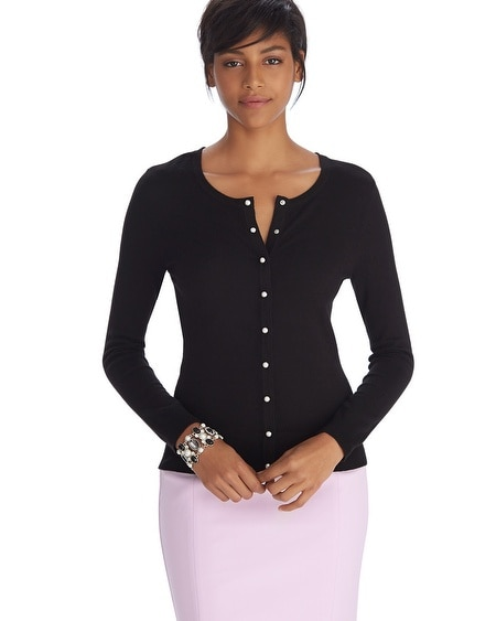 Long Sleeve Pearl Button Cardigan