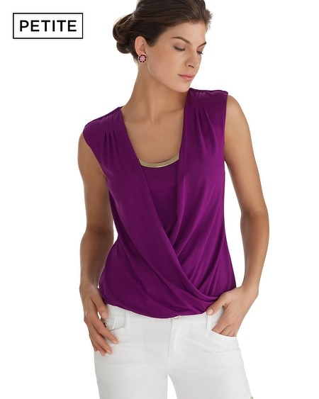 Petite Extended Shoulder Bubble Hem Surplice Top