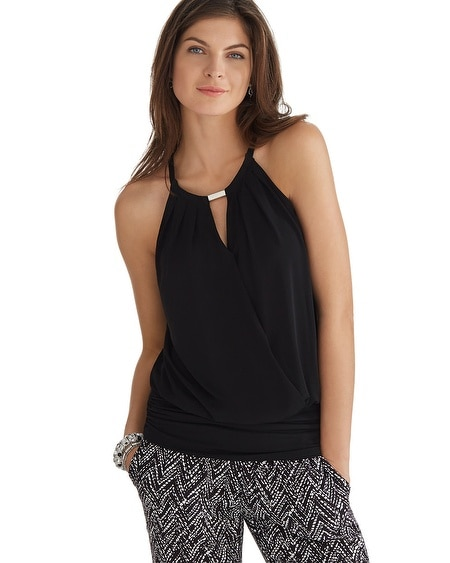 Surplice Blouson Halter Top