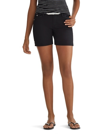 Sateen Cuffed Black Shorts