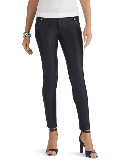 Coated Zip Black Skinny Jean