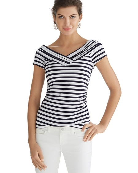 Pleated At-the-Shoulder Short Sleeve Top