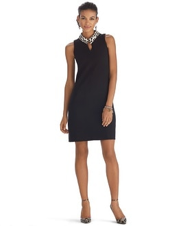 Genius Sleeveless Removable Collar Shift Dress