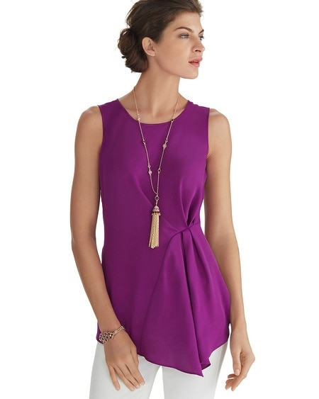 Sleeveless Asymmetrical Shell Top