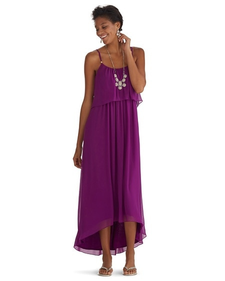 Ruffle Flounce High-Low Maxi Dress