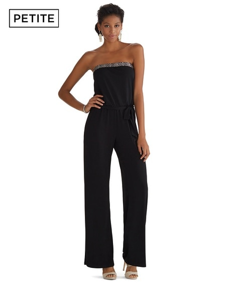 Petite Strapless Embellished Black Jumpsuit