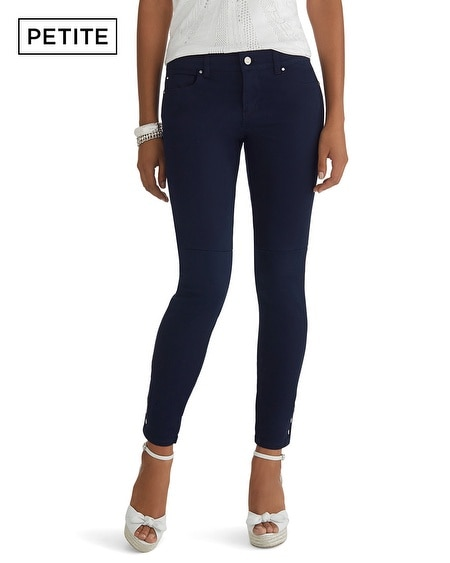 Petite Button Hem Colored Jean Skimmer Pant