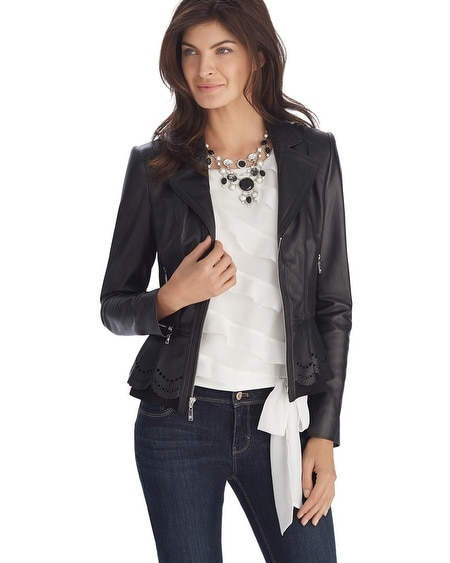 Leather Ponte Black Peplum Jacket