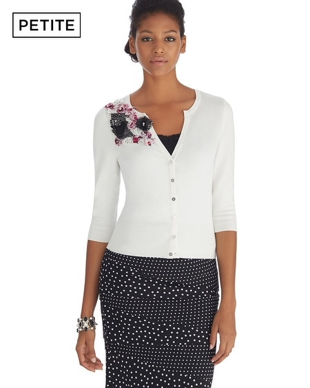 Petite Flower Applique Notch Neck Cardigan