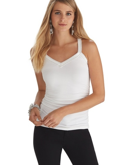 Embroidered V-Neck Tank White