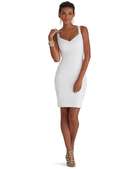 Sleeveless V-Neck Instantly Slimming White Dress