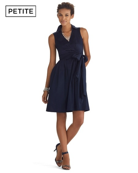 Petite Sleeveless Wrap Fit & Flare Dress