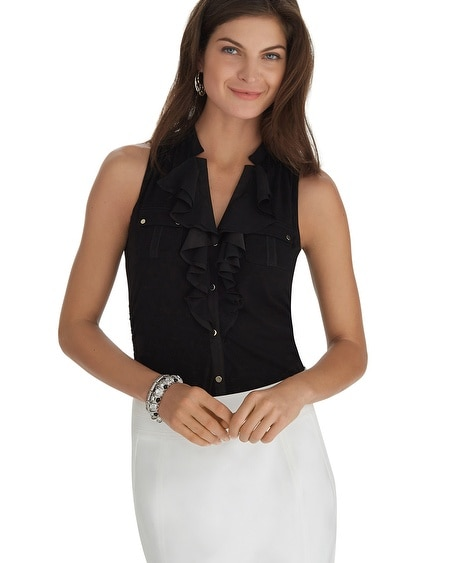 Sleeveless Button Front Ruffle Black Shirt