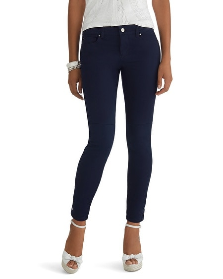 Button Hem Colored Jean Skimmer Pant