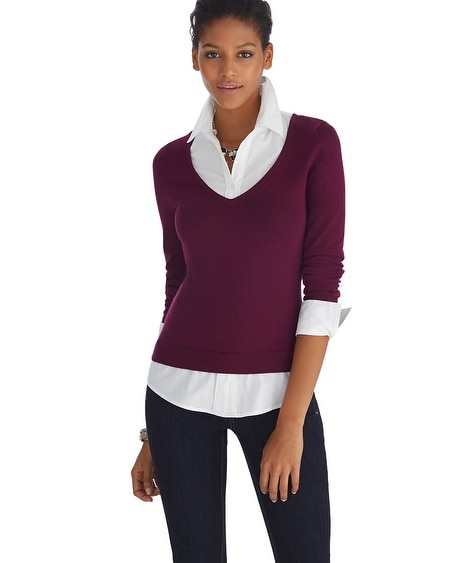 Long Sleeve V-Neck Burgundy Pullover