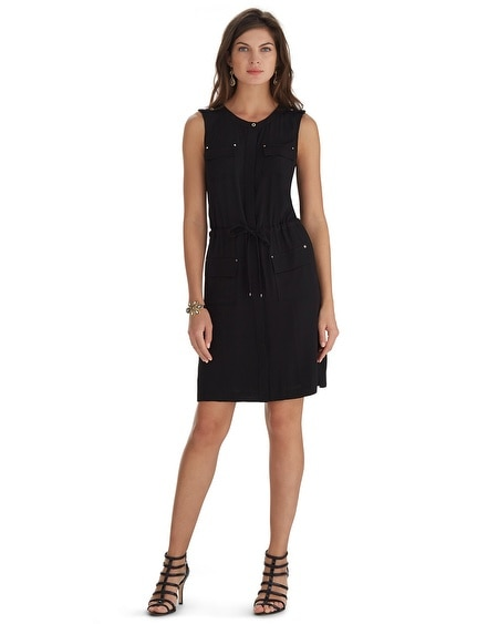 Sleeveless Black Camp Shirt Dress