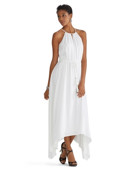 Sleeveless Cut-in Blouson High-Low Maxi Dress