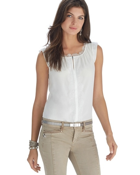Lace Trim Popover Shell Top