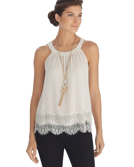 Sleeveless Tiered Lace Shell Top