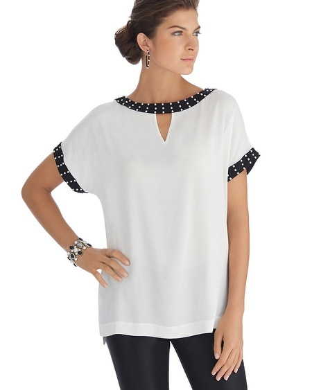 Short Sleeve Colorblock Tunic Top