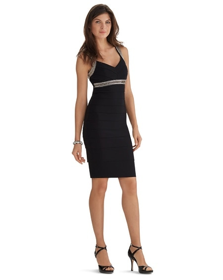 Sleeveless V-Neck Embellished Instantly Slimming Black Dress