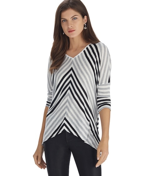 Stripe V-Neck Drop Shoulder Top
