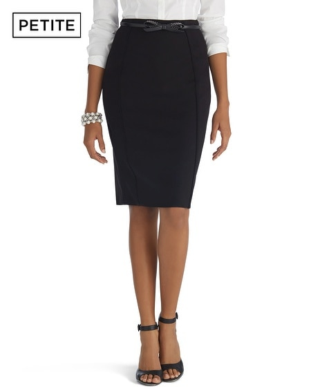 Petite Seasonless Flounce Black Pencil Skirt